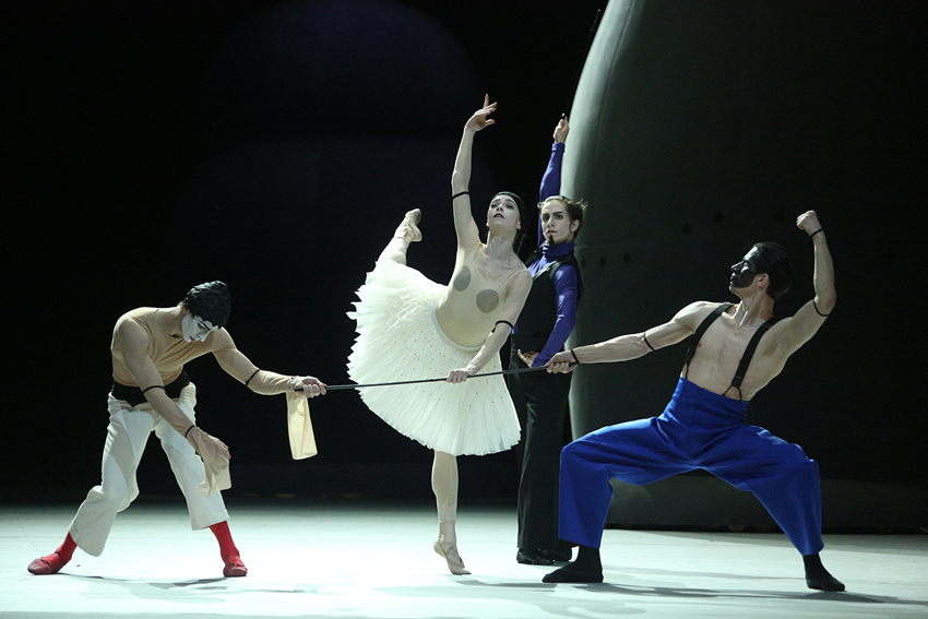 Denis Savin as Petrushka.Ekaterina Krysanova as Ballerina.Georgy Gusev as Charlatan.Anton Savichev as Moor.Photo by Elena Fetisova/ Bolshoi Theatre.